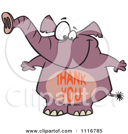 Cartoon Of A Purple Elephant With A Thank You Belly - Royalty Free Vector Clipart by toonaday