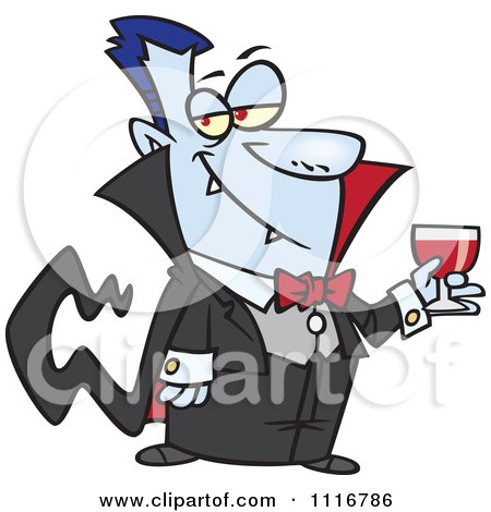 Cartoon Of A Suave Halloween Dracula Vampire Drinking Blood - Royalty Free Vector Clipart by toonaday
