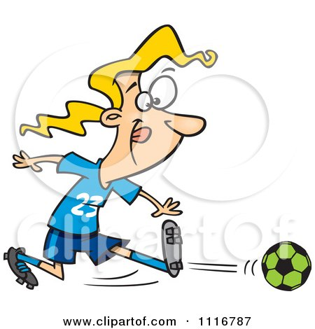 Cartoon Of A Girl Kicking A Soccer Ball - Royalty Free Vector Clipart by toonaday