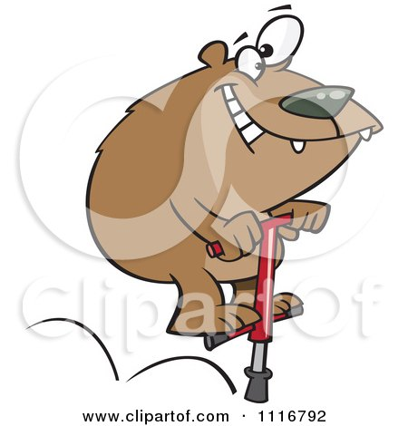 Cartoon Of A Bear Jumping On A Pogo Stick - Royalty Free Vector Clipart by toonaday