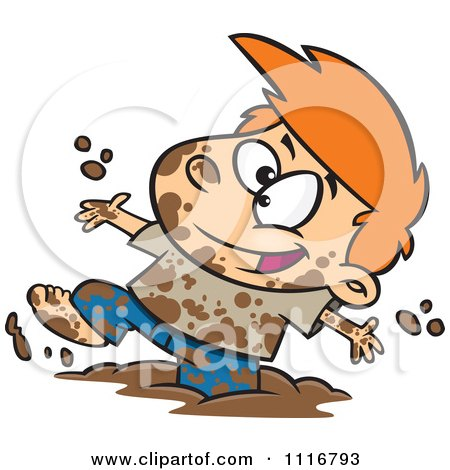 Cartoon Of A Boy Having Fun Playing In Mud - Royalty Free Vector Clipart by toonaday