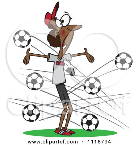 Cartoon Of A Black Female Soccer Coach With Balls Flying At Her - Royalty Free Vector Clipart by toonaday