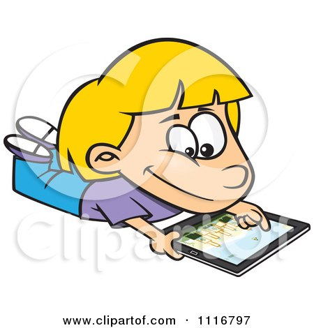 Cartoon Of A Blond Girl Using An iPad Tablet Computer - Royalty Free Vector Clipart by toonaday