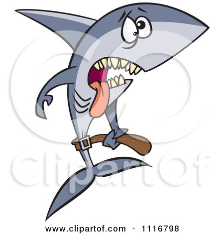 Cartoon Of A Skinny Starving Shark - Royalty Free Vector Clipart by toonaday
