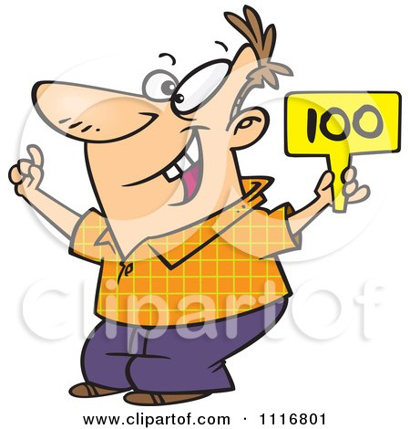 Cartoon Of A Man Bidding And Holding A Sign - Royalty Free Vector Clipart by toonaday