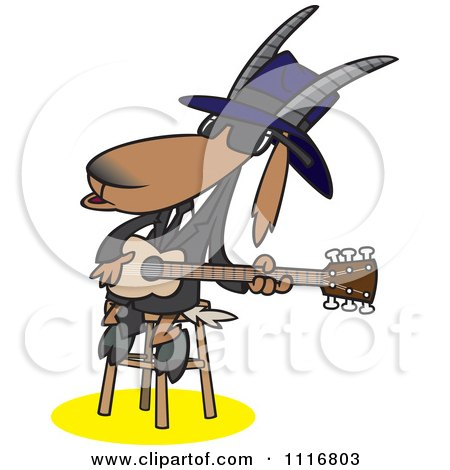 Cartoon Of A Blues Goat Musician Playing A Guitar - Royalty Free Vector Clipart by toonaday