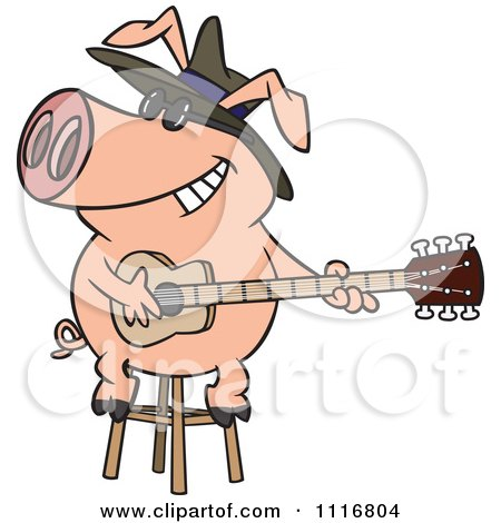 Cartoon Of A Blues Pig Musician Playing A Guitar - Royalty Free Vector Clipart by toonaday