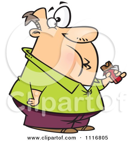 Cartoon Of A Fat Man Eating A Chocolate Candy Bar Royalty Free Vector Clipart
