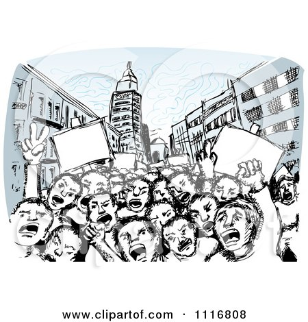 Vector Clipart Of Children Of The Revolution Shouting In A Street - Royalty Free Graphic Illustration by David Rey