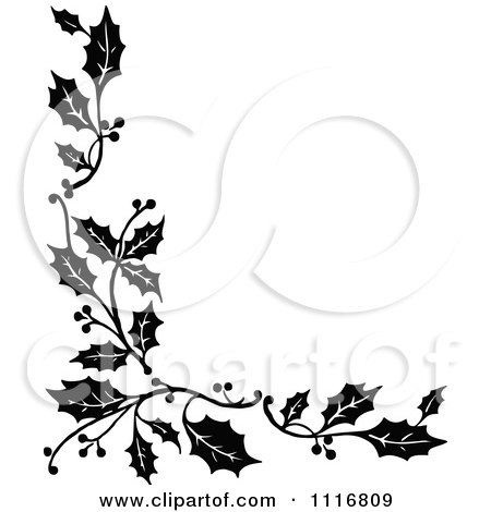 Christmas Flower on Clipart Retro Vintage Black And White Corner Border Of Christmas Holly