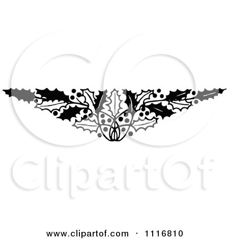 clipart retro vintage black and white christmas holly