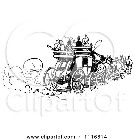 Clipart Of Retro Vintage Black And White People On A Horse Drawn Carriage - Royalty Free Vector Illustration by Prawny Vintage