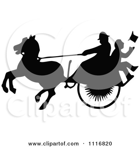 Clipart Of Silhouetted Black And White Single Horse Drawn Cart With A Passenger 2 - Royalty Free Vector Illustration by Prawny Vintage