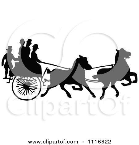 Clipart Of Silhouetted Black And White Single Horse Drawn Cart With Passengers - Royalty Free Vector Illustration by Prawny Vintage