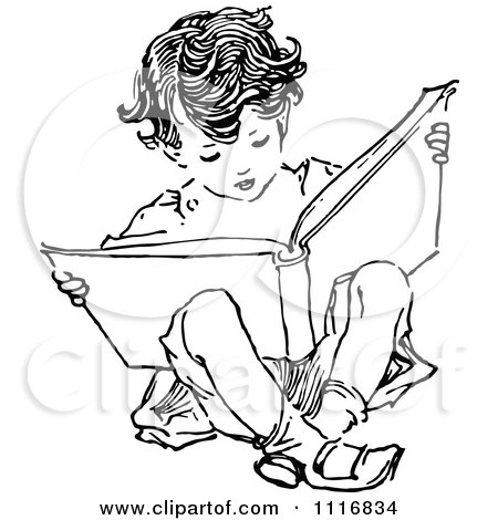 Clipart Of A Retro Vintage Black And White Boy Reading And Sitting - Royalty Free Vector Illustration by Prawny Vintage