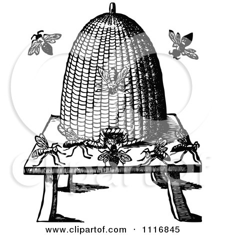 Clipart Of A Retro Vintage Black And White Conical Bee Hive - Royalty Free Vector Illustration by Prawny Vintage