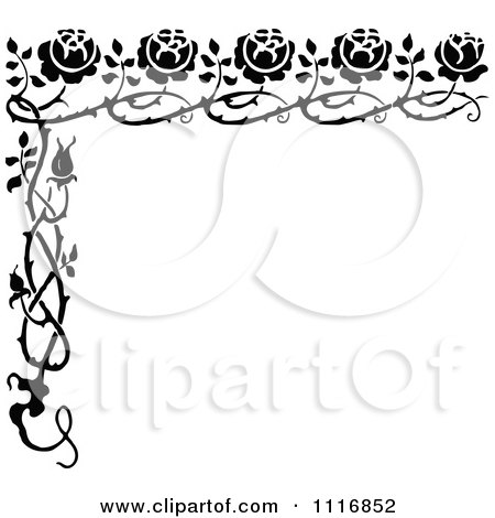 Clipart Of A Retro Vintage Black And White Rose Border - Royalty Free Vector Illustration by Prawny Vintage