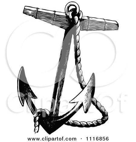 Retro vintage black and white nautical rope and anchor posters art prints