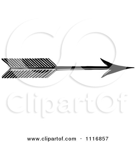 Clipart Of A Retro Vintage Black And White Archery Arrow - Royalty Free Vector Illustration by Prawny Vintage