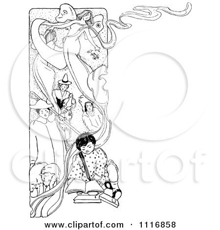 Clipart Of A Retro Vintage Black And White Child Reading A Book With Imaginary Pictures Behind Him - Royalty Free Vector Illustration by Prawny Vintage
