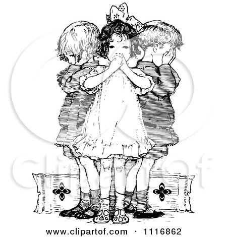 Retro Vintage Black And White Wise Children Covering Their Ears Mouth And Eyes Posters, Art Prints