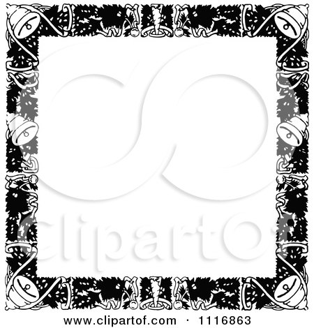 Christmas Border Black And White.Retro Vintage Black And White Christmas Border With