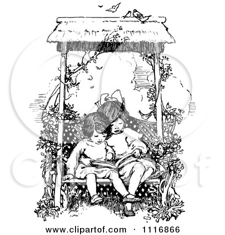 Clipart Of A Retro Vintage Black And White Girls Reading A Book On A Garden Bench - Royalty Free Vector Illustration by Prawny Vintage
