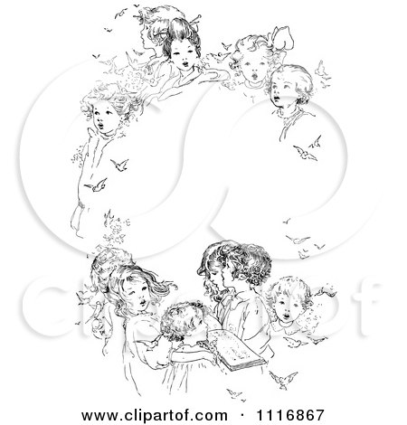 Clipart Of A Retro Vintage Black And White Oval Frame Of Singing Children - Royalty Free Vector Illustration by Prawny Vintage