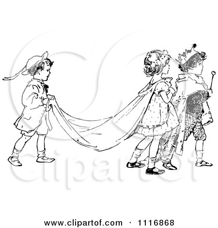 Clipart Of A Retro Vintage Black And White Children Acting Out A Royal Wedding - Royalty Free Vector Illustration by Prawny Vintage