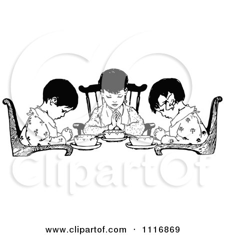 Clipart Of A Retro Vintage Black And White Girls Praying Over Food - Royalty Free Vector Illustration by Prawny Vintage