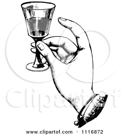 Clipart Of A Retro Vintage Black And White Hand Toasting With Wine - Royalty Free Vector Illustration by Prawny Vintage