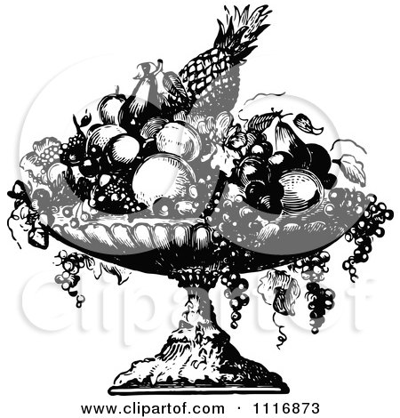 Cartoon Black And White Happy Fruit Bowl Character Smiling Poster Art Print 1306229