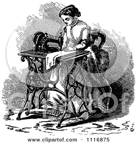 Clipart Of A Retro Vintage Black And White Woman Using A Sewing Machine - Royalty Free Vector Illustration by Prawny Vintage