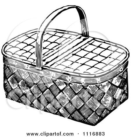 Picnic Basket Drawing White Wicker Picnic Basket