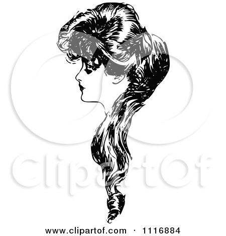 Clipart Of A Retro Vintage Black And White Woman In Profile With Long Hair - Royalty Free Vector Illustration by Prawny Vintage