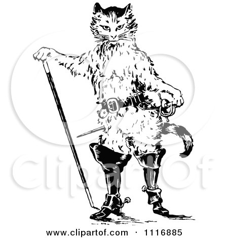 Clipart Of A Retro Vintage Black And White Puss In Boots Cat - Royalty Free Vector Illustration by Prawny Vintage