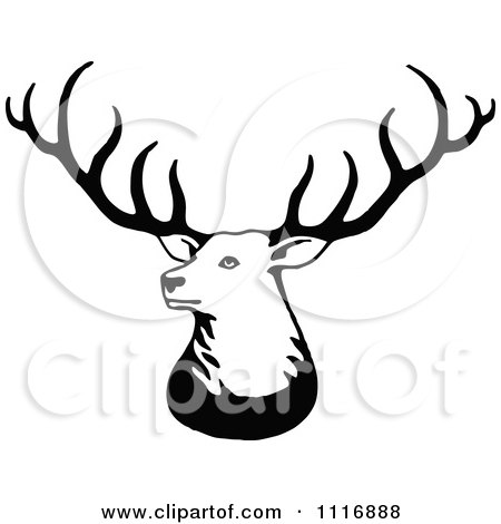 Clipart Of A Retro Vintage Black And White Stag Deer With Big Antlers - Royalty Free Vector Illustration by Prawny Vintage