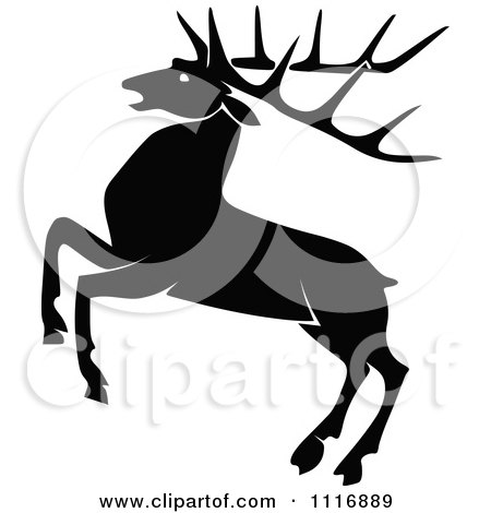 Clipart Of A Retro Vintage Black And White Rearing Stag Deer With Big Antlers - Royalty Free Vector Illustration by Prawny Vintage