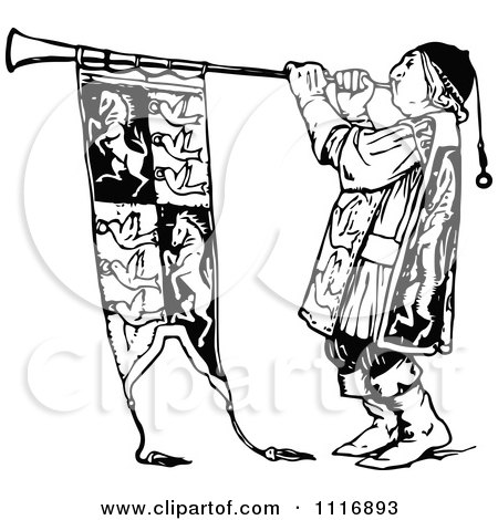 Cartoon of a Herald Blowing a Horn - Royalty Free Vector Clipart ...