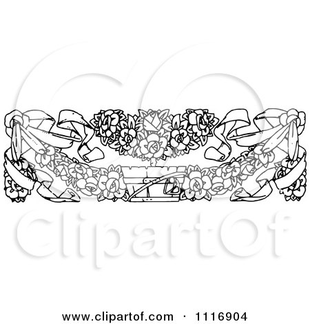 Clipart Of A Retro Vintage Black And White Floral Border - Royalty Free Vector Illustration by Prawny Vintage