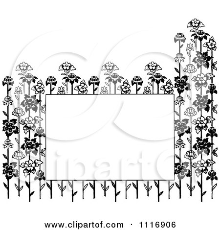 Clipart Of A Retro Vintage Black And White Copyspace Framed With Flower Stalks - Royalty Free Vector Illustration by Prawny Vintage