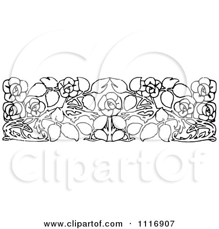 Clipart Of A Retro Vintage Black And White Floral Rose Border - Royalty Free Vector Illustration by Prawny Vintage