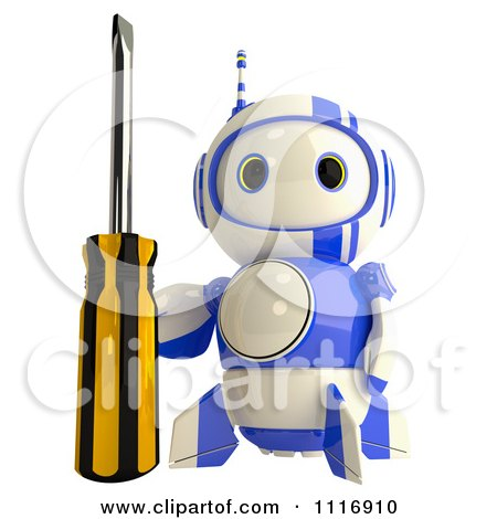 Clipart Of A 3d Repair Blueberry Robot With A Screwdriver - Royalty Free CGI Illustration by Leo Blanchette