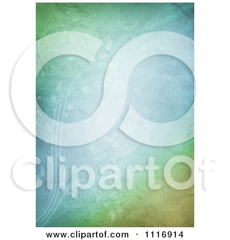 Clipart Of A Crinkled Pastel Green And Blue Paper Background With Faint Vines - Royalty Free CGI Illustration by KJ Pargeter