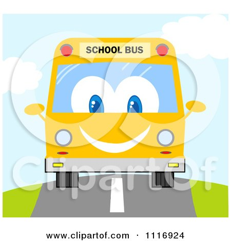 Clipart Of A Happy School Bus Driving - Royalty Free Vector Illustration by Hit Toon
