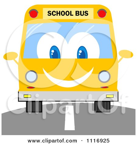 Clipart Of A Happy School Bus On A Road - Royalty Free Vector Illustration by Hit Toon