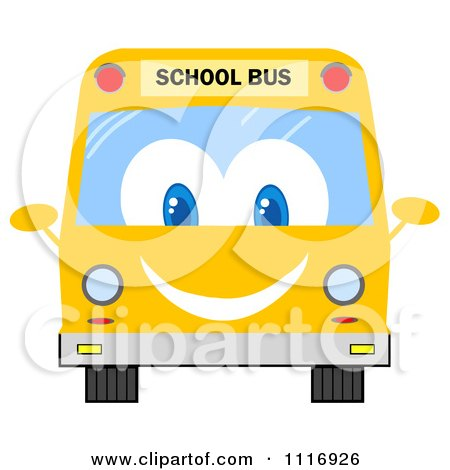 Clipart Of A Happy School Bus - Royalty Free Vector Illustration by Hit Toon