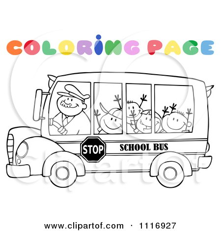 Clipart Of A Coloring Page Happy School Bus Driver And Children - Royalty Free Vector Illustration by Hit Toon
