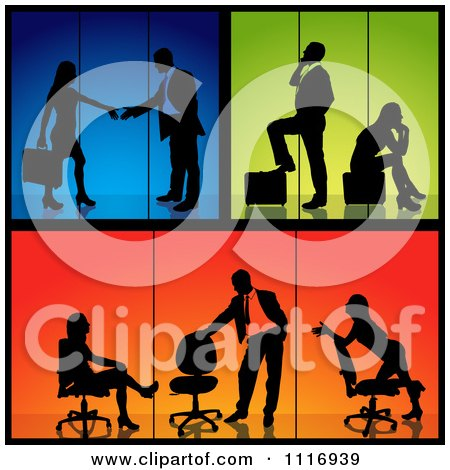 Vector Clipart Of Business Men And Women Silhouettes With Blue Green And Orange Backgrounds - Royalty Free Graphic Illustration by dero