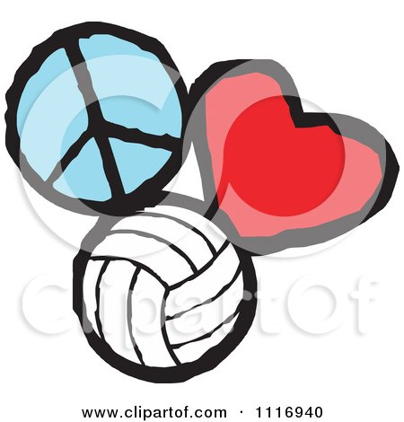 Cartoon Of Peace Love Volleyball Graphics - Royalty Free ...